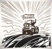 Farmer στο τρακτέρ που κυματίζει τα χέρια του απεικόνιση αποθεμάτων