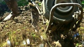 Farmer χρησιμοποιώντας τον καλλιεργητή μηχανών mart για το όργωμα του χώματος απόθεμα βίντεο