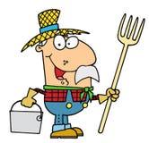 Farmer. Happy smiling farmer holding a bucket vector illustration