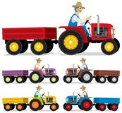 Farmer. Driving an old tractor. You can place a product or other stuff in the trailer. Below is the same picture in 4 different color variations Stock Image