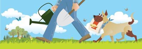 Farmer. Vector illustration of a farmer going to his field, dog follows him Stock Photography