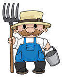 Farmer. Illustration of the farmer with a pitchfork and a bucket Stock Photo