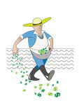 Farmer. The farmer sows the seeds for the future success Royalty Free Stock Photography