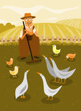 Farmer. Illustration of farmer with geese and chicken on the farm yard Royalty Free Stock Photography