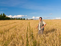 Farmer. Mature farmer looking with satisfaction at his cultivated field and having care of wheat royalty free stock photography