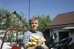 Farmer. Sits on mini tractor and keeps in hand corn Stock Images
