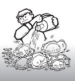 Farmer. Hand drawn image of a farmer watering vegetables Stock Photo