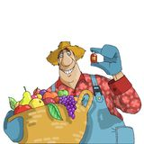 Farmer advertises plant care product vector illustration