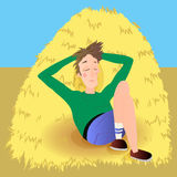 Farmer in agreen jumpsuit, lies on haystack Stock Images