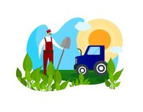 Farmer and Agricultural Machinery Work in Garden. royalty free stock images