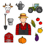 Farmer with agriculture and farming icons. Of cow and tractor, barn and fresh pumpkin, tomato and eggplant, corn and bell pepper vegetables, watering can Royalty Free Stock Photography