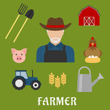 Farmer and agriculture flat icons Stock Photography
