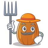 Farmer almond nut character cartoon Royalty Free Stock Photo