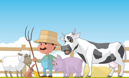 Farmer and animals. Cartoon illustration of farmer and animals Royalty Free Stock Photography