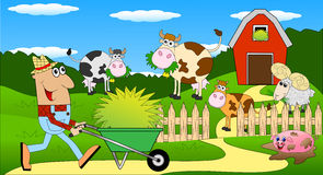 The farmer and the animals grazing on the green lawn. Vector illustration Stock Photography