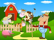 The farmer and the animals grazing on the green lawn. Vector illustration Stock Photos