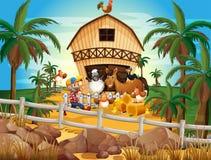 Farmer and animals Royalty Free Stock Photo