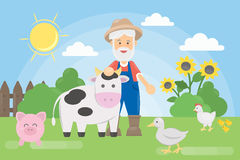 Farmer with animals. Stock Image