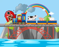 Farmer and animals on the train. Illustration Stock Image