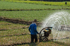 Farmer apply fertilizer. When farmer apply fertilizer in the field he made nice curve mist Royalty Free Stock Image