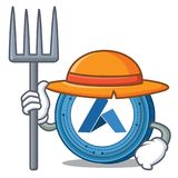 Farmer Ardor coin character cartoon. Vector illustration Stock Photography