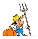Farmer  autumn harvest pumpkin cartoon illustration Stock Photos