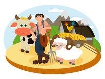 Farmer on the background of his farm vector illustration
