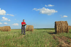 Farmer and bale of hay in field Stock Photos