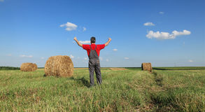 Farmer and bale of hay in field Stock Image