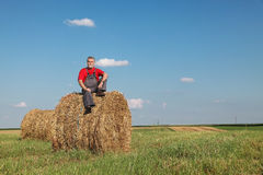 Farmer and bale of hay in field Royalty Free Stock Photography