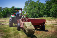 Farmer Bales Hay' Royalty Free Stock Image