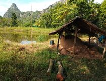 Bamboo hut and country side royalty free stock photography