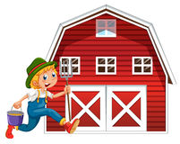 Farmer and barn Stock Photography