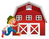 Farmer and barn Stock Photography