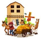 Farmer and barn Stock Photo