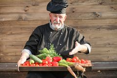 Farmer with a basket of fresh vegetables stock images