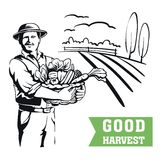 Farmer with a basket of vegetables Royalty Free Stock Photo