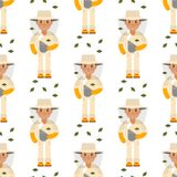 Farmer beekeeper character forester man seamless pattern background agriculture person profession rural gardener worker. Funny beekeeper farmer character Royalty Free Stock Image