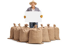 Farmer behind burlap sacks and holding blank signboard royalty free stock photo