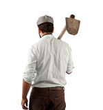 Farmer from behind of the late nineteenth century Royalty Free Stock Photos