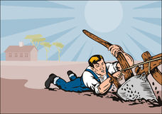 Farmer being dragged. Vector art on farming in the countryside royalty free illustration