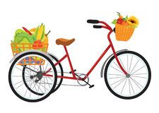 Farmer bike full of fruits and vegetables Royalty Free Stock Photos