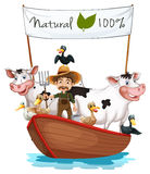 A farmer on a boat with his animals Royalty Free Stock Photography