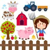 Farmer boy and animals. Vector illustration collection. Set of farm animals and farmer boy on white background. Vector illustration collection vector illustration