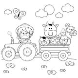 Farmer boy driving a tractor and carrying farm animals. Black and white coloring book page. Little farmer boy at the farm driving a tractor, carrying animals: A Royalty Free Stock Image