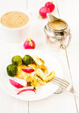 Farmer breakfast with fried eggs, coffee, brussels sprouts and v Royalty Free Stock Photography