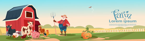 Farmer Breeding Animals Farmland Background. Flat Vector Illustration stock illustration