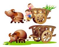 Farmer buffalo cart Stock Photos