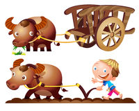 Farmer buffalo cart farm. Cute farmer buffalo cart farming Royalty Free Stock Photo