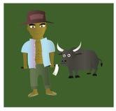 Farmer and buffalo Royalty Free Stock Photos